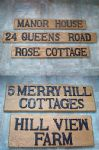 Personalised/Bespoke Solid Oak Wood Cast Iron House Gate Door Number Plaque Sign